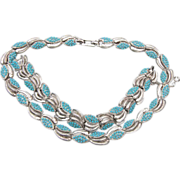 Boucher Turquoise Beaded Necklace and Bracelet Set