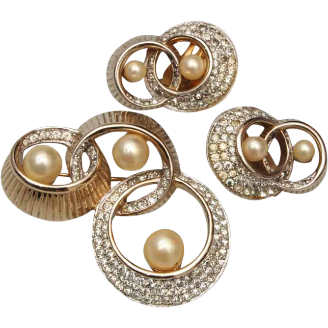 Jomaz Faux Pearl and Rhinestone Brooch and Earring Set