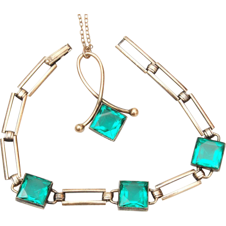 Simmons Gold Filled Necklace and Bracelet With Green Stones