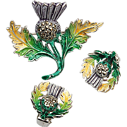 Enamel and Marcasite Thistle Brooch and Earring Set
