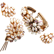 Fabulous White Rhinestone Bracelet, Brooch and Earring Set