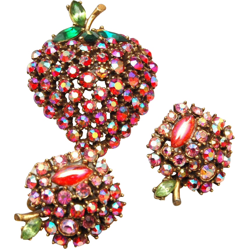 ART Signed Apple Rhinestone Brooch and Earring Set