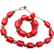 Red Bakelite Necklace and Memory Wire Bracelet