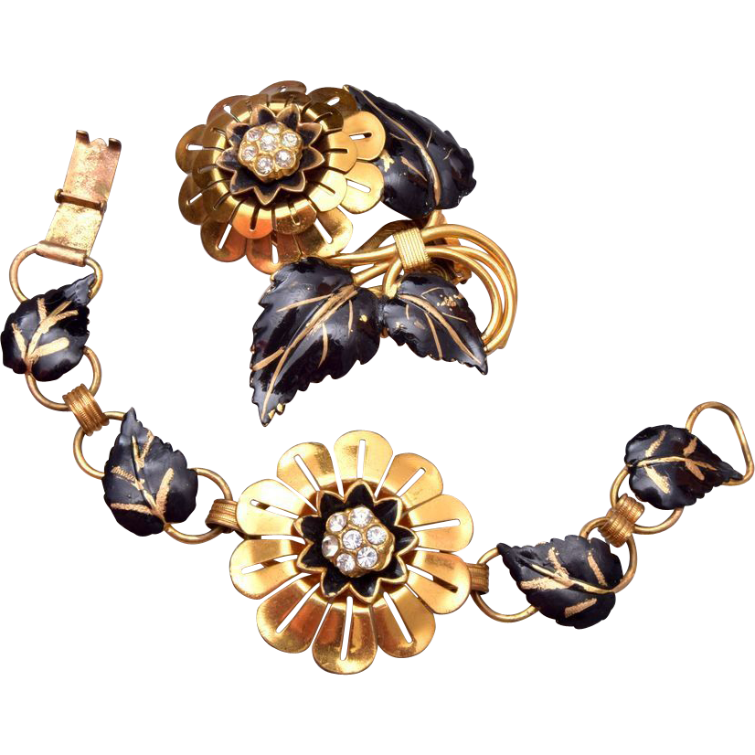 Beautiful Black and Gold Bracelet and Dress Clip Set