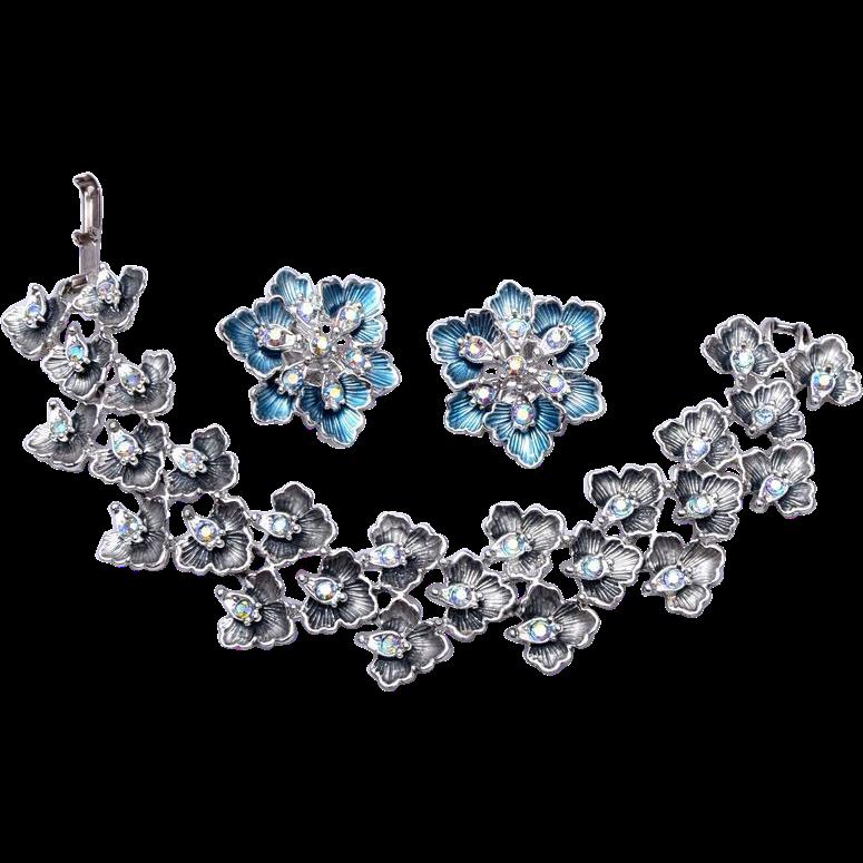 BSK Enameled and Rhinestone Bracelet and Earring Set