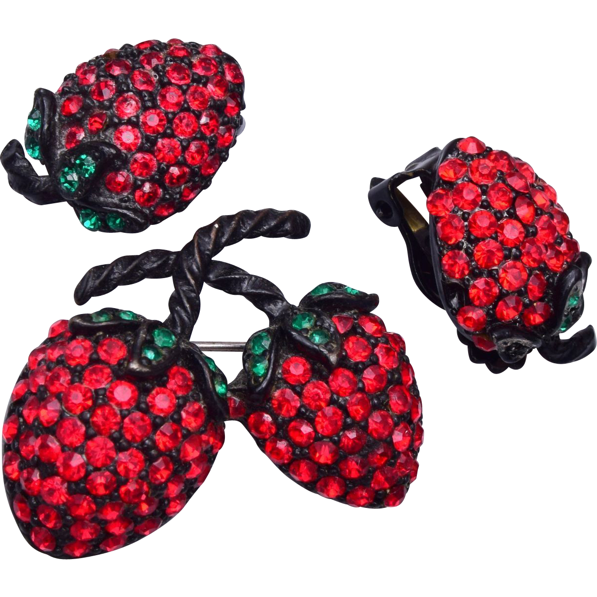 Weiss Strawberry Set Brooch and Earrings