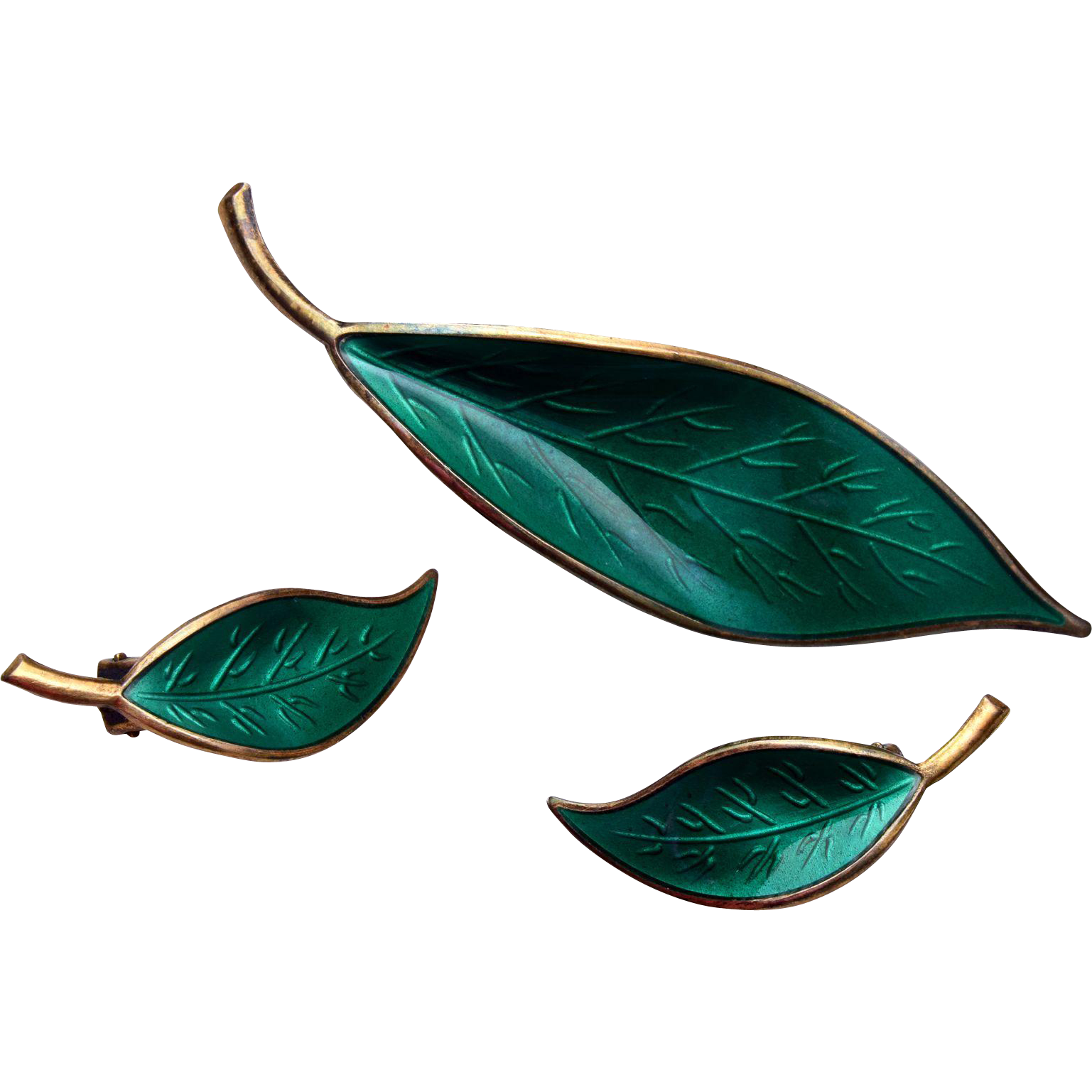 David Anderson Sterling Green Enameled Leaf Brooch and Earring Set