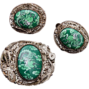 Chinese Silver Filigree and Green Enameled Brooch and Earring Set