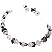 Laguna Crystal and Japanned Black Necklace and Earring Set