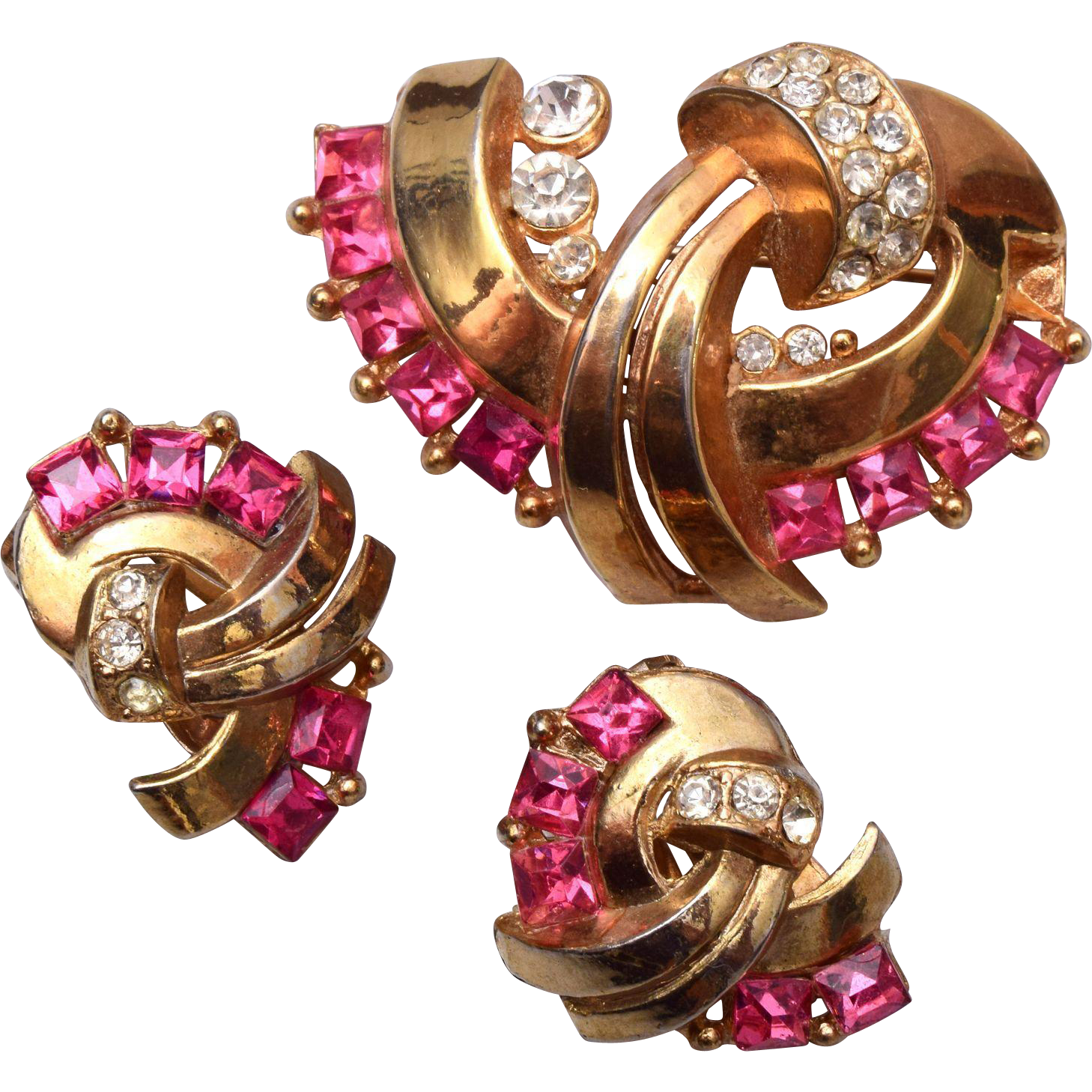Old Lisner Marked Pink Rhinestone Brooch and Earring Set