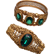 Gorgeous Filigree and Green Rhinestone Brooch and Hinged Bracelet Set