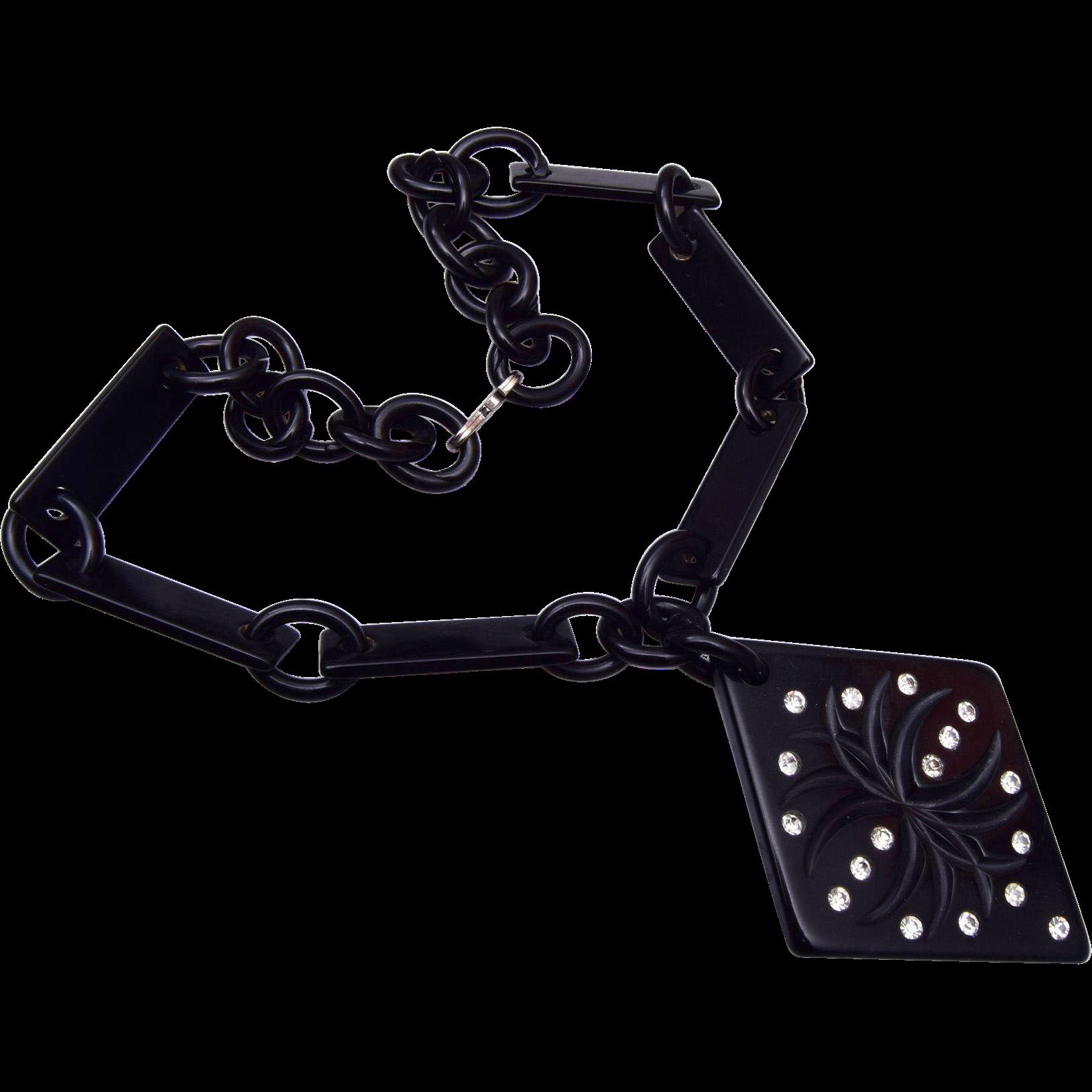 Black Bakelite and Rhinestone Necklace