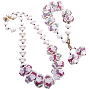 White Glass Flower and Pastel Lucite Spacers Necklace and Bracelet Set