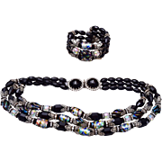 Hobe' Gorgeous Black Glass and Art Glass Beaded Necklace and Bracelet