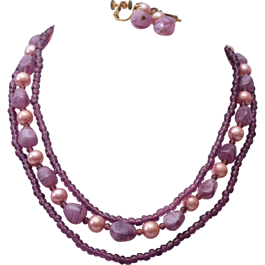 3 Strand Miriam Haskell Purple Glass and Faux Pearl Necklace & Earring Set