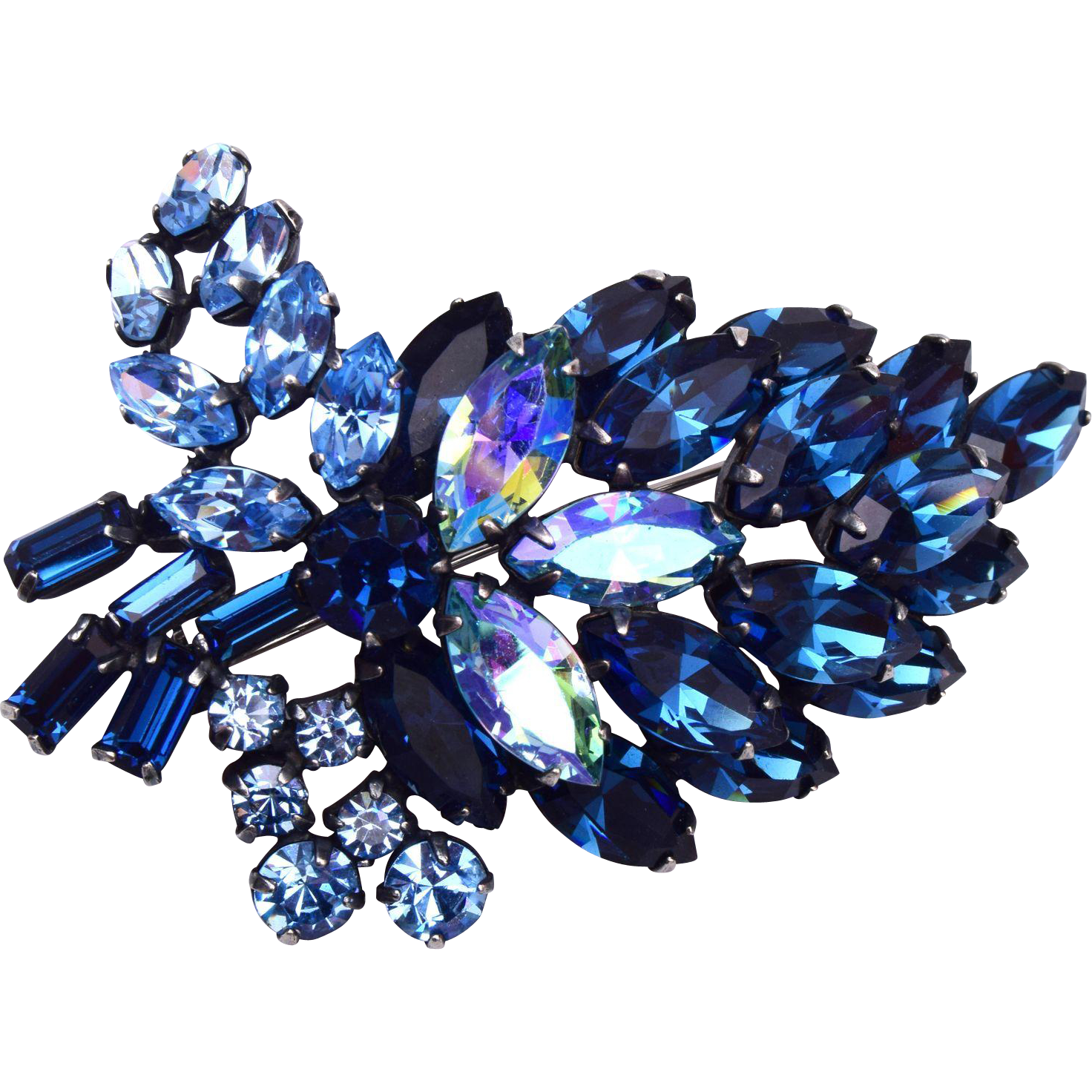Beautiful Blue Prong Set Rhinestone Brooch