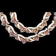 Enameled and Pastel Rhinestone Necklace and Bracelet Set