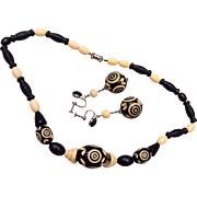 Black and Cream Colored Carved Celluloid Necklace and Earring Set