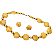 Yellow Murano Beaded Necklace and Earrings Purchased in 1955