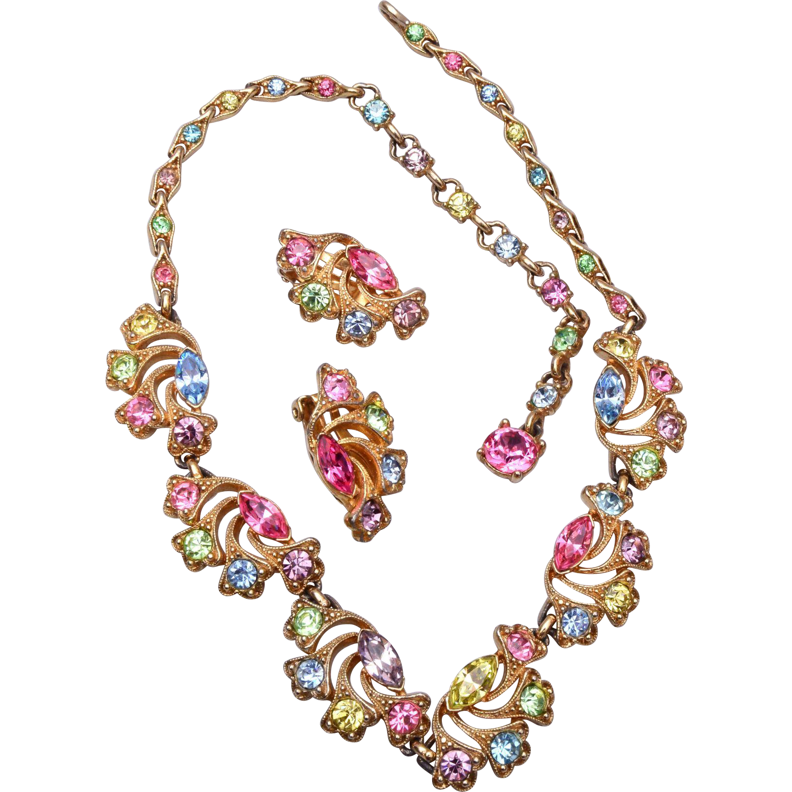 Bogoff Pastel Rhinestone Necklace and Earrings Set