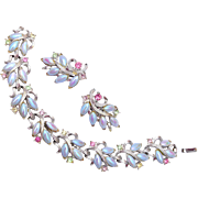1960's Tara Blue and Pastel Rhinestone Bracelet and Earring Set