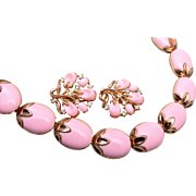 Crown Trifari Pink Thermoset Necklace and Earring Set