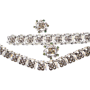 Coro Black Diamond Rhinestone Necklace, Bracelet and Earring Set