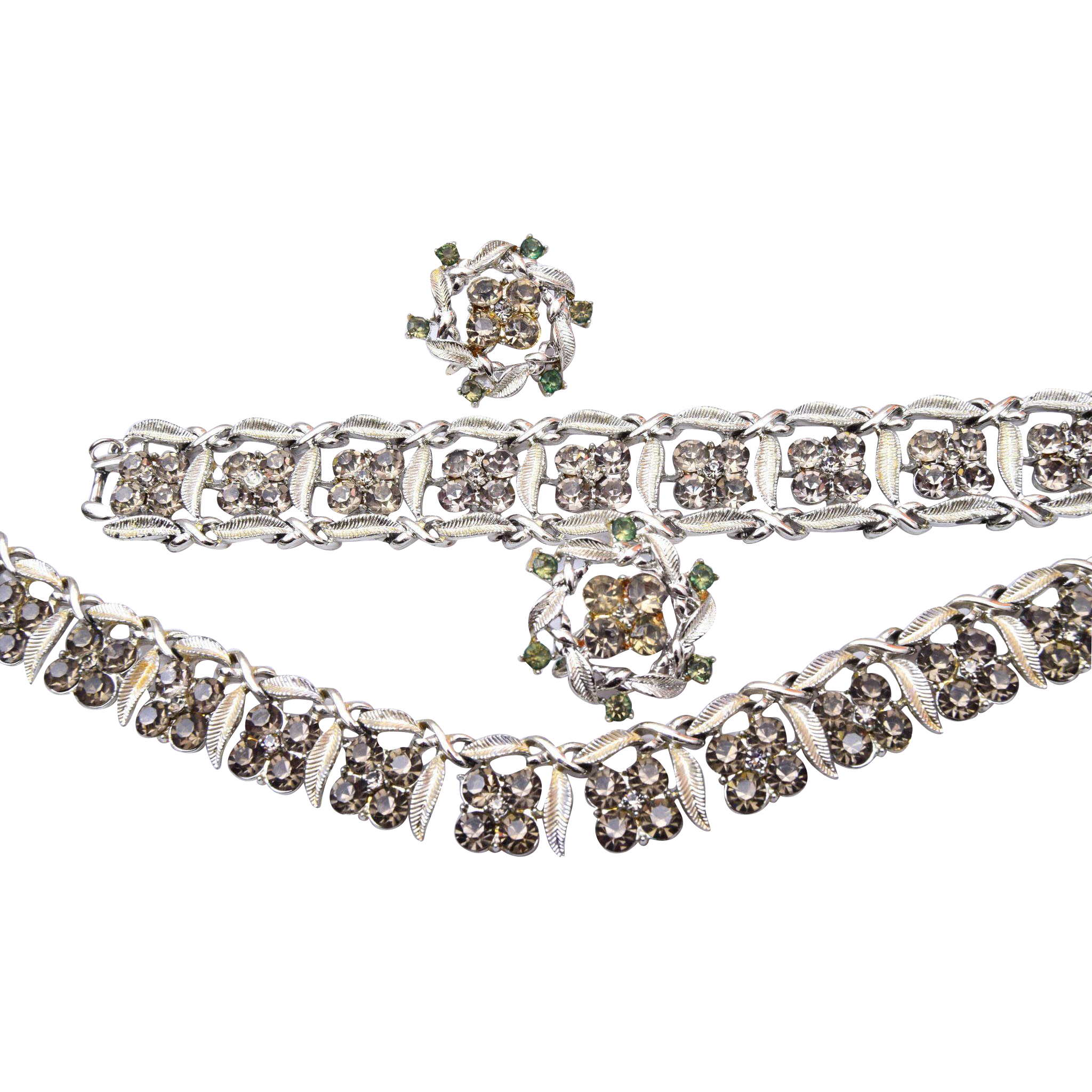 Coro Black Diamond Rhinestone Necklace, Bracelet and Earring Set