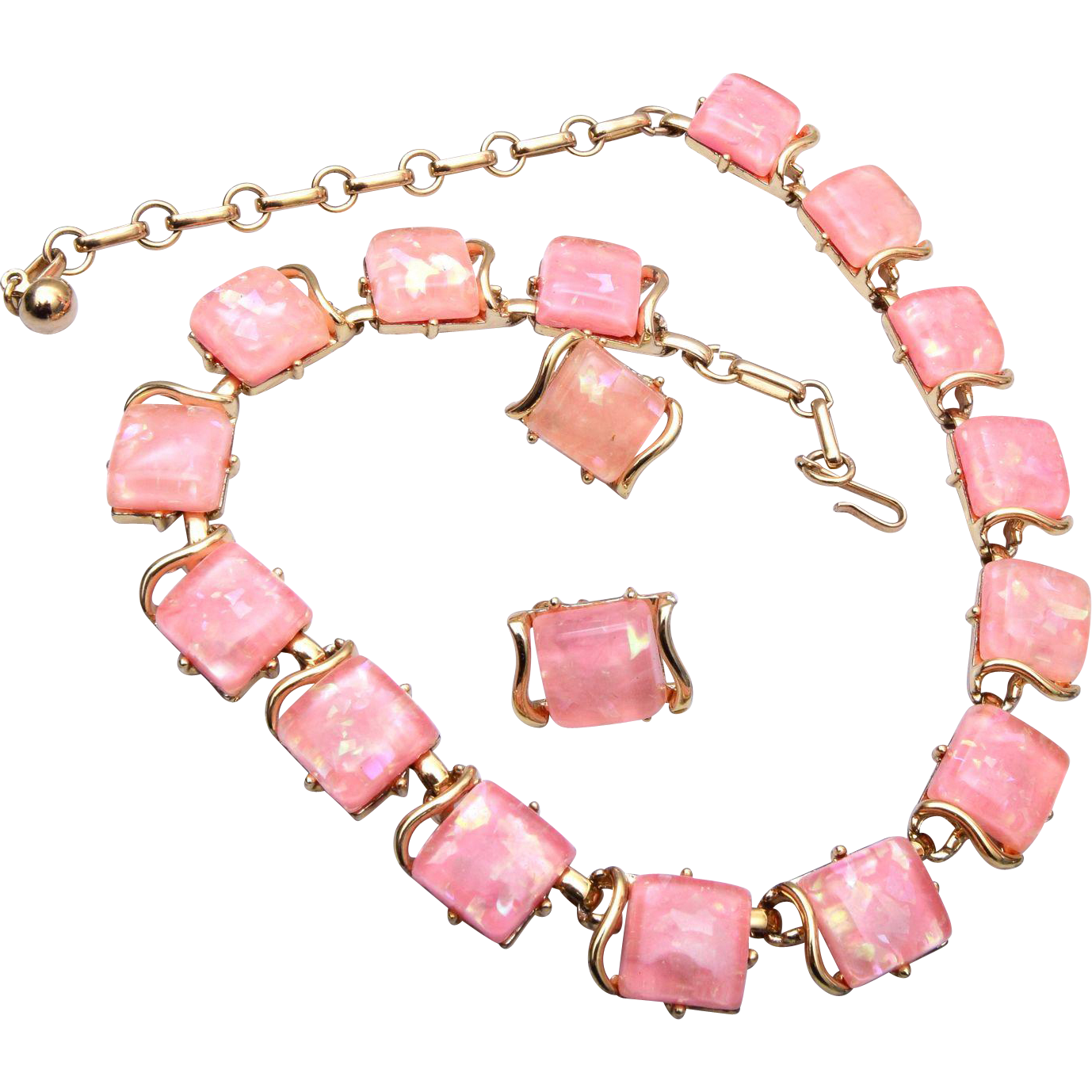Pink Thermoset Coro Necklace and Earring Set