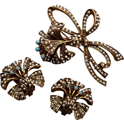Florenza Seed Pearl and Turquoise Brooch and Earring Set
