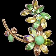 Regency Rhinestone Daisy Flower Brooch and Earring Set