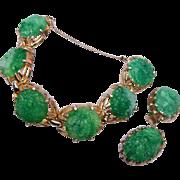 Reja Green Molded Glass Bracelet and Earring Set
