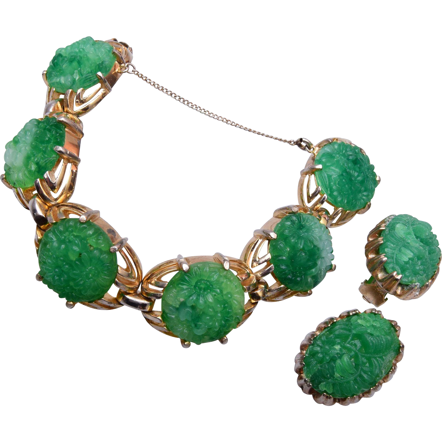 Reja Green Molded Glass Bracelet and Earring Set