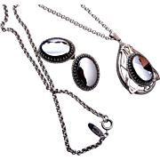 Whiting and Davis Hematite Pendant and Earrings Set