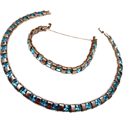 Pre 1955 Trifari Aqua Rhinestone Necklace and Bracelet