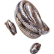Whiting and Davis Mesh Snake Bracelet and Earring Set