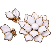 Pre 1955 Dogwood Milk Glass Brooch/Pendant and Earrings Set