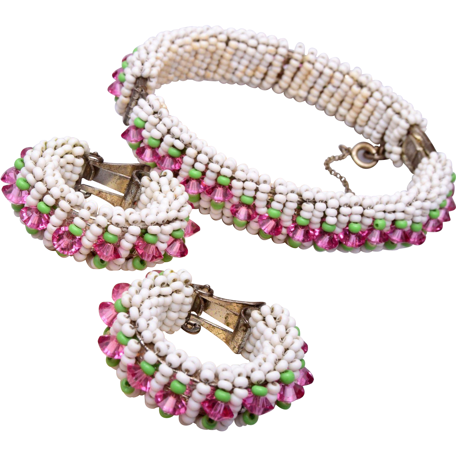 Miriam Haskell Pastel Colored Glass Bracelet and Earring Set