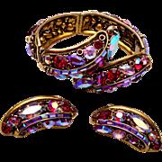1959 Hollycraft Red Rhinestone Bracelet and Earring Set