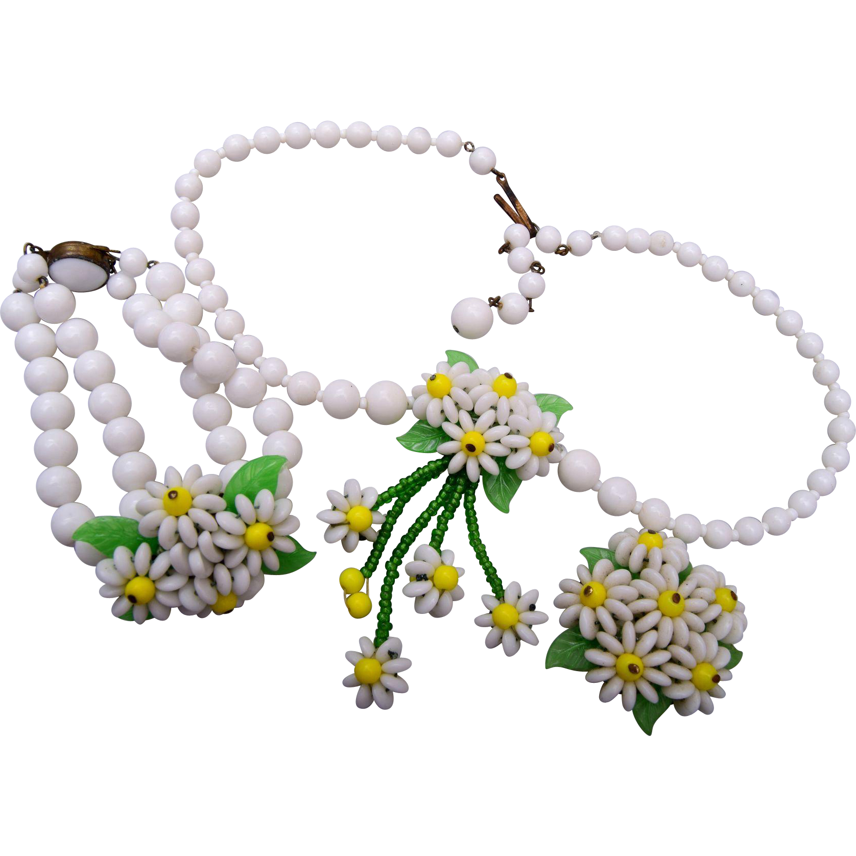 Germany Milk Glass Daisy Necklace, Bracelet and Earring Set