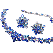 Blue AB Rhinestone Necklace and Earring Set
