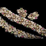 Coro Enameled Flowers and Pastel Rhinestone Set