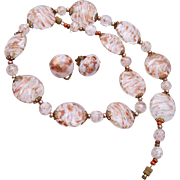 White and Gold Venetian Glass Necklace and Earring Set