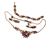 Coro Purple and Faux Pearl Necklace, Bracelet and Earring Set