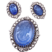 Whiting and Davis Blue Glass Cameo Brooch and Earring Set