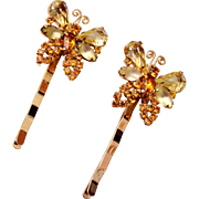 2 Weiss Topaz Butterfly Hair Pins