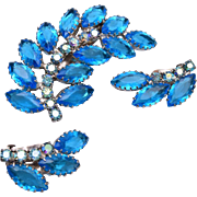 Aqua Open Backed Rhinestone Brooch and Earring Set