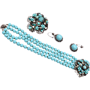 Robert DeMario Turquoise Bracelet Brooch and Earring Set