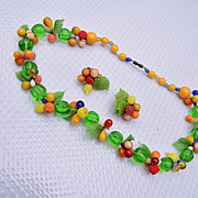 Glass Fruit Necklace and Earring Set