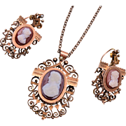 Gold Filled Cameo Mourning Locket Necklace and Pierced Earring Set